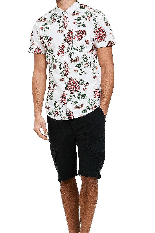 Threadbare Selleck Mens Berry Print Hawaiian Short Sleeved Shirt