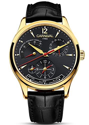 Mens Power Reserve Display Automatic Mechanical Watches Full Stainless Steel Waterproof Swiss Watches