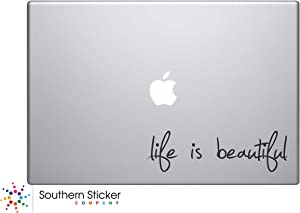 Life Is Beautiful Text Silhouette Macbook Symbol Keypad Iphone Apple Ipad Decal Skin Sticker Laptop