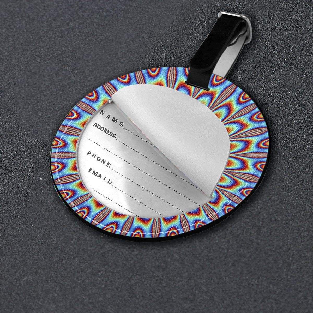Free-2 Optical Illusion Spin Cycle Luggage Tag 3D Print Leather Travel Bag ID Card