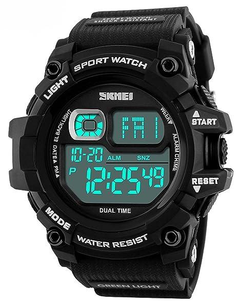 f8516aa47d59 Hombres LED Digital relojes cronógrafo multifunción deportes al aire libre  alarma reloj 50 m Agua golpes a los relojes de pulsera  skmei  Amazon.es   Relojes