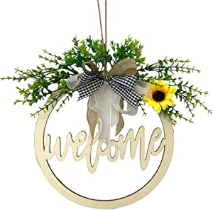 DoreenBow 12 Inch Welcome Sign for Front Door Wooden Hanging Sign,Spring Sign Front Door Decor,Farmhouse Front Porch Decor Decorations Hanging Outdoor with 2 Hook