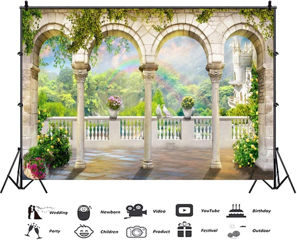 10x7ft Ancient Classical Architecture Arch Background Vinyl Wedding Photo Backdrop After Raining Spring Mountain Scenery Rainbow Couple Peace Doves Flowers Newlywed Portraits Postcard