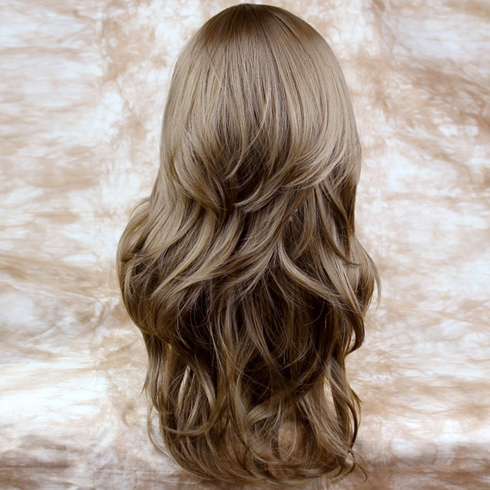 Light Brown Long 34 Wig Fall Hairpiece Wavy Layered Hair Extension