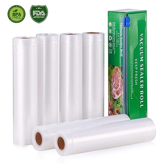 Rollos de Sellador al Vacío con Caja Cúter 6 Paquete 20cm x 300cm Bolsas de Almacenamiento de Comida Bolsa de Grado Comercial para Ahorro de Comida y ...