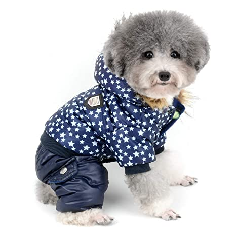 Zunea Small Dog Snowsuit Waterproof Star Printed Winter Fleece Linded Hoodie Coat Puppy Jumpsuit Pet Clothes Apparel Outfits Padded Hooded Jacket ...
