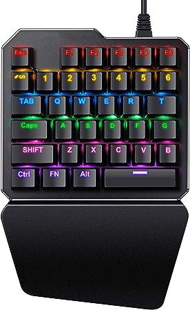 Teclado Mecánico Gaming con una Mano - 35 Teclas y Switches Blue, RGB Retroiluminado de Rápido sensible con reposamuñecas para computadora, ...