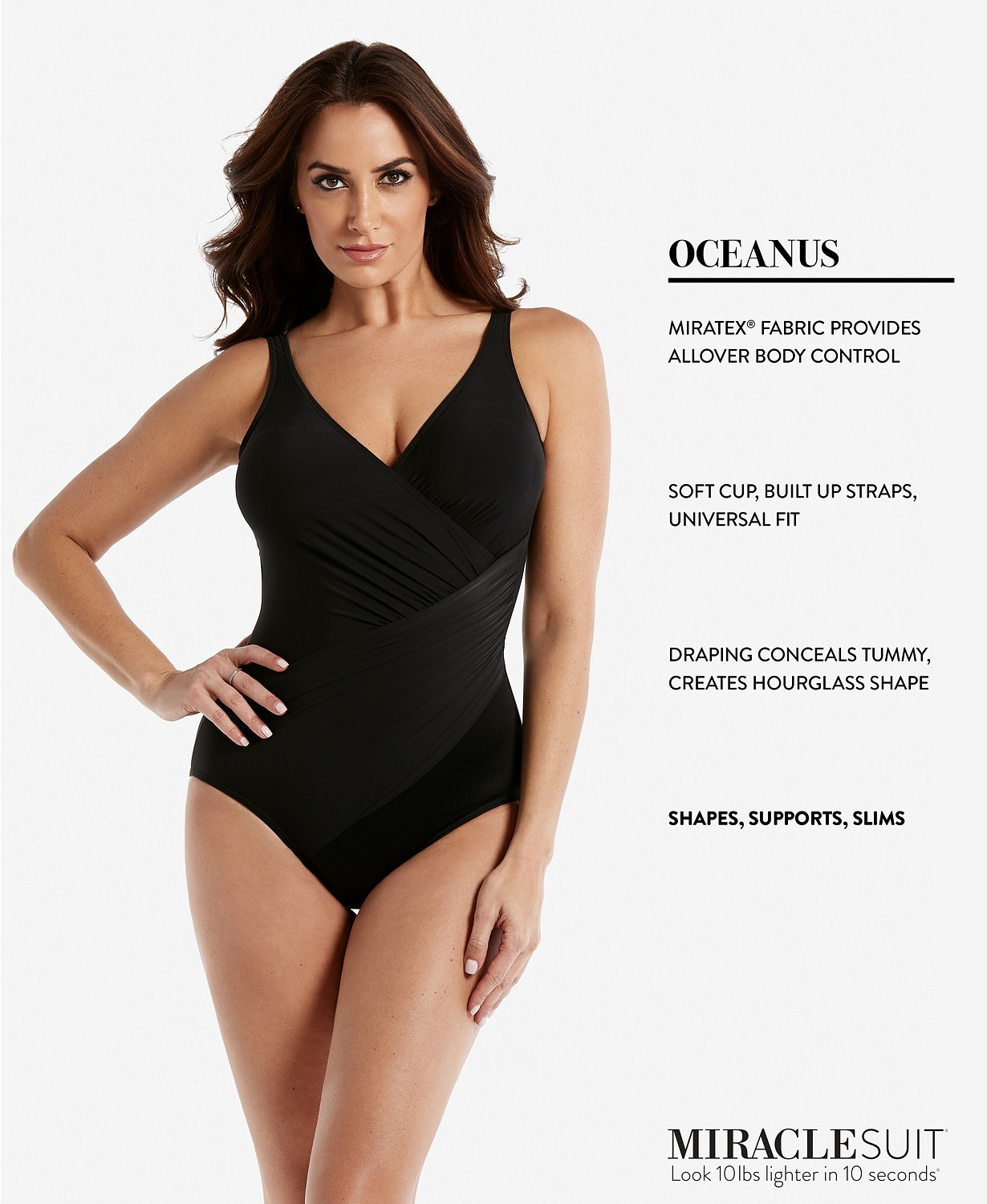 Miraclesuit Womens Swimwear Must Have Oceanus Tummy Control V-Neckline Soft Cup One Piece Swimsuit