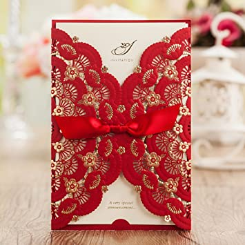 Amazoncom Wishmade 50x Elegant Red Laser Cut Wedding Invitations