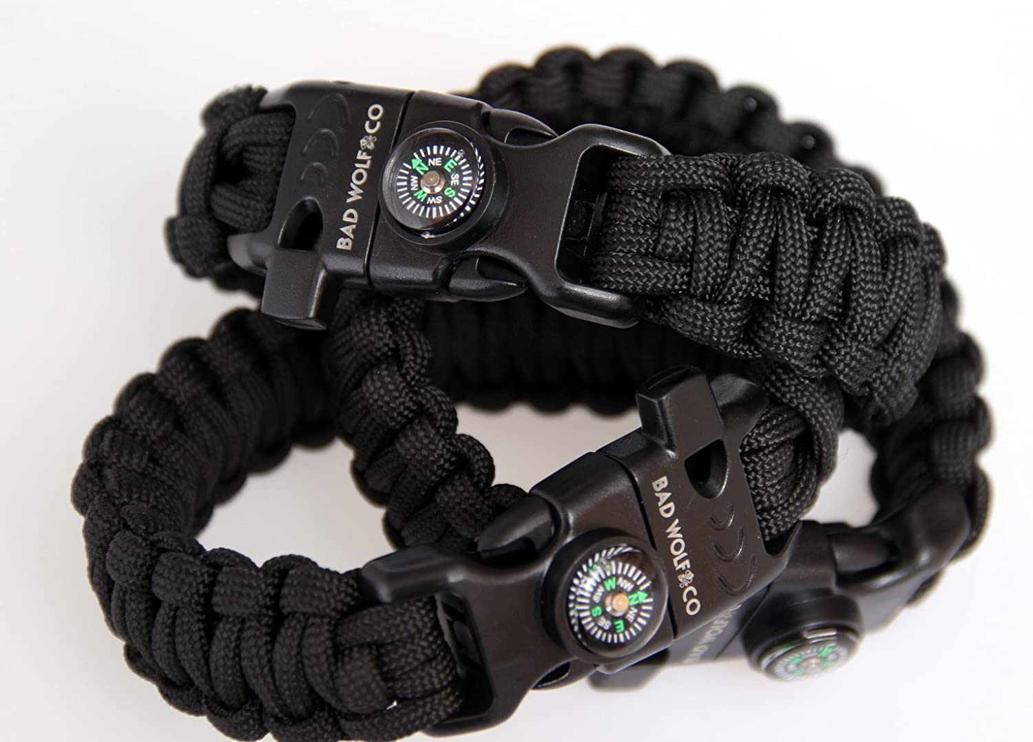 Paracord Survival Bracelet - Fire Rod & Scraper, Whistle & Compass All-In-One Survival Gear Kit Multi Functional Parachute 550 Cord Type III 7 Strand Paracord Design For Hiking & Travelling