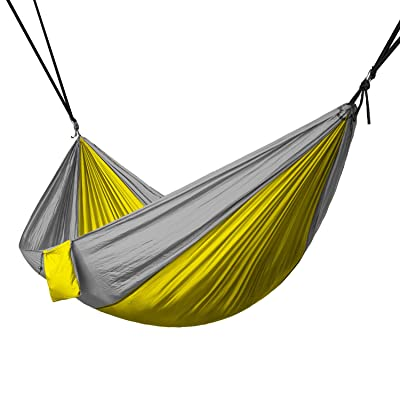 North East Harbor HAM-004 Gray and Yellow Hammock (Portable 2 Person Rope Hanging Swing Fabric Camping Bed): Automotive