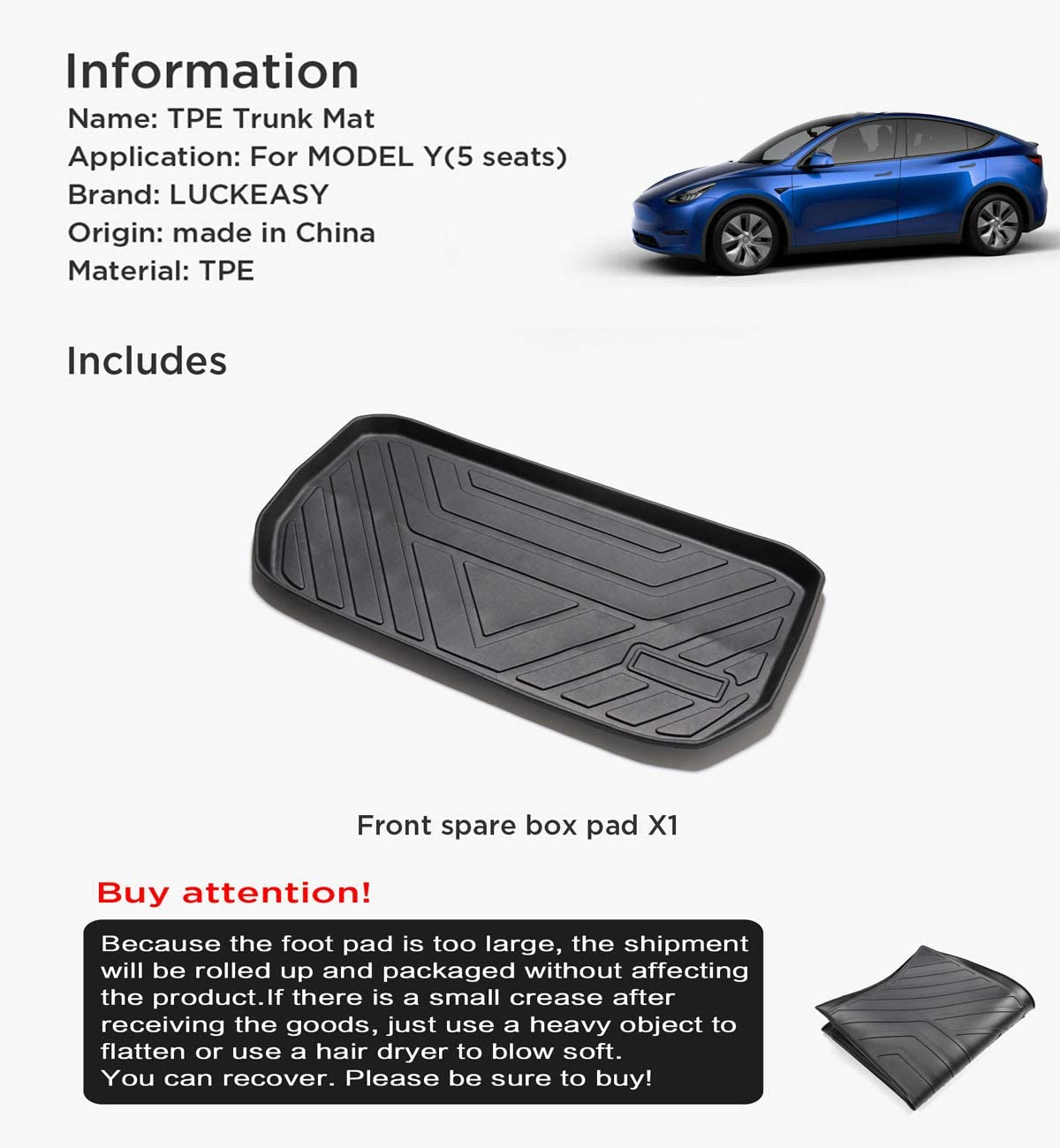 LUCKEASY Car Accessories Interior Modification for Tesla Model Y Waterproof Odorless TPE Front Trunk Mat.
