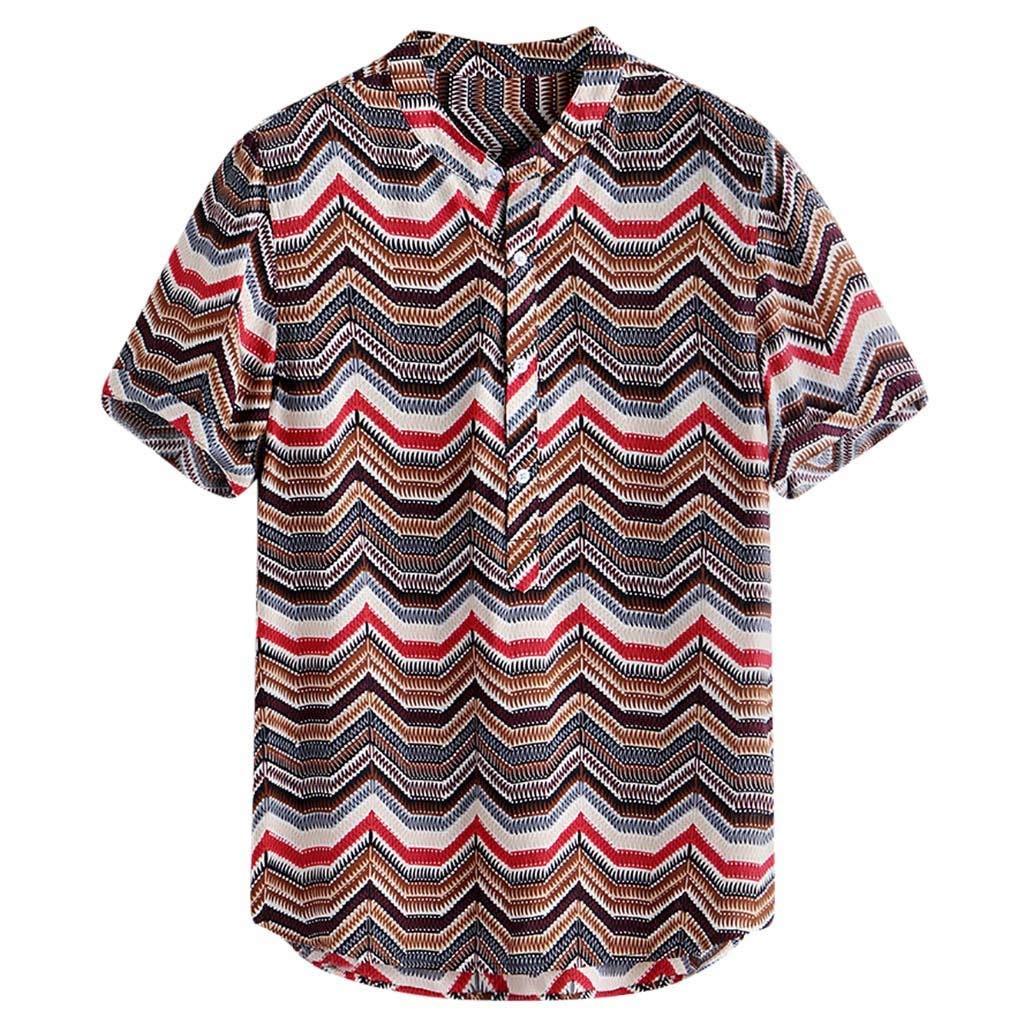 Men's Hawaiian Short Sleeve Shirt Flower Print Casual Button Down Standard Fit Beach Shirts by Donci T Shirt