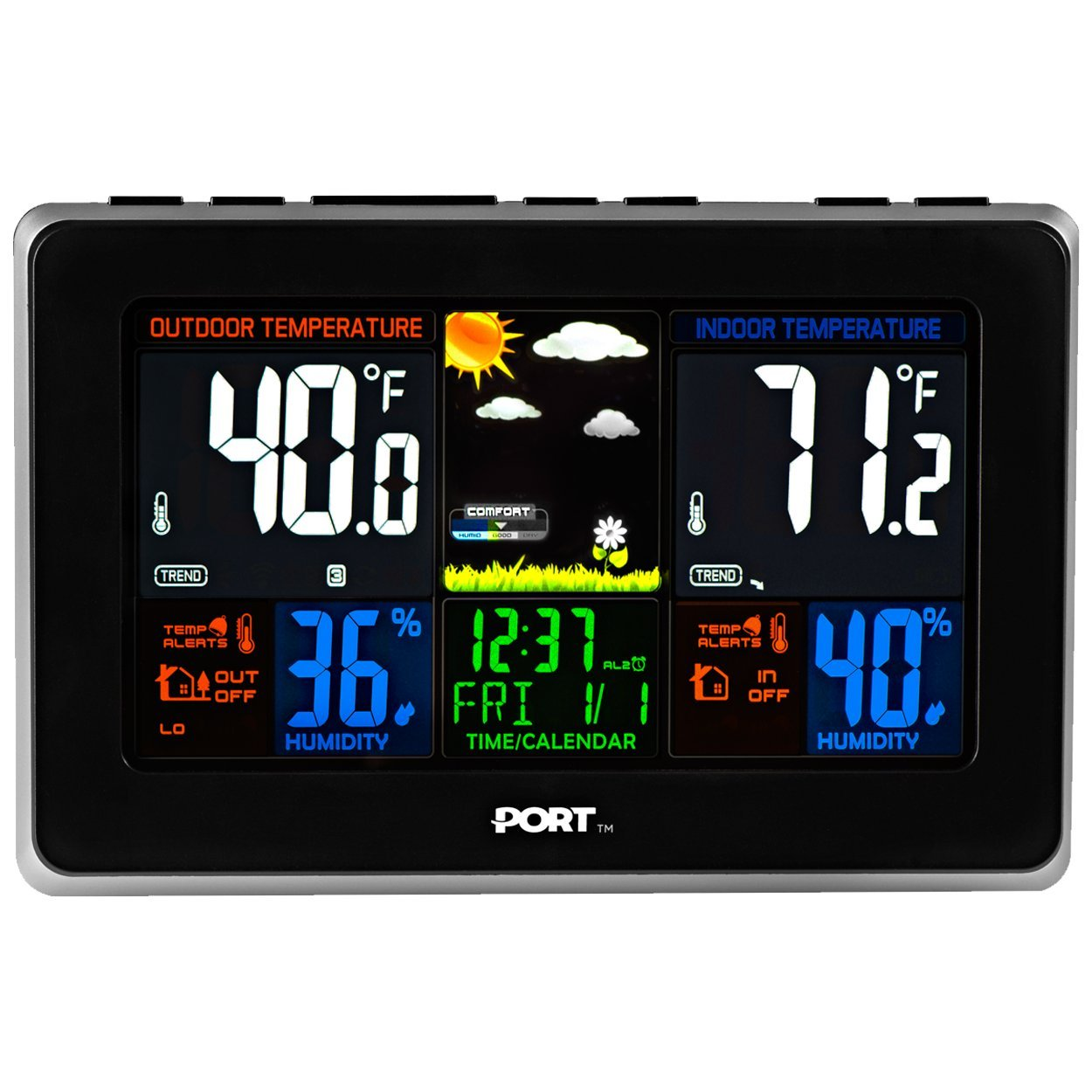 PORT [Newest Version] Wireless Weather Station Weather Forecast Digital Alarm Clock, Indoor and Outdoor Use, Temperature, Humidity, Date and Time Readings, Colored Backlit Display, Snooze Option