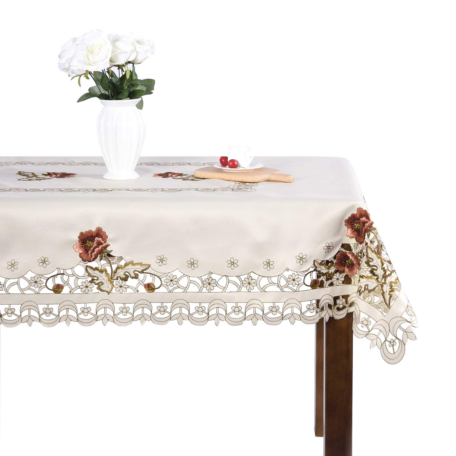 Luxury Cutwork Handmade Embroidery Floral Jacquard Table Cloths Cover Square 43 inch Approx