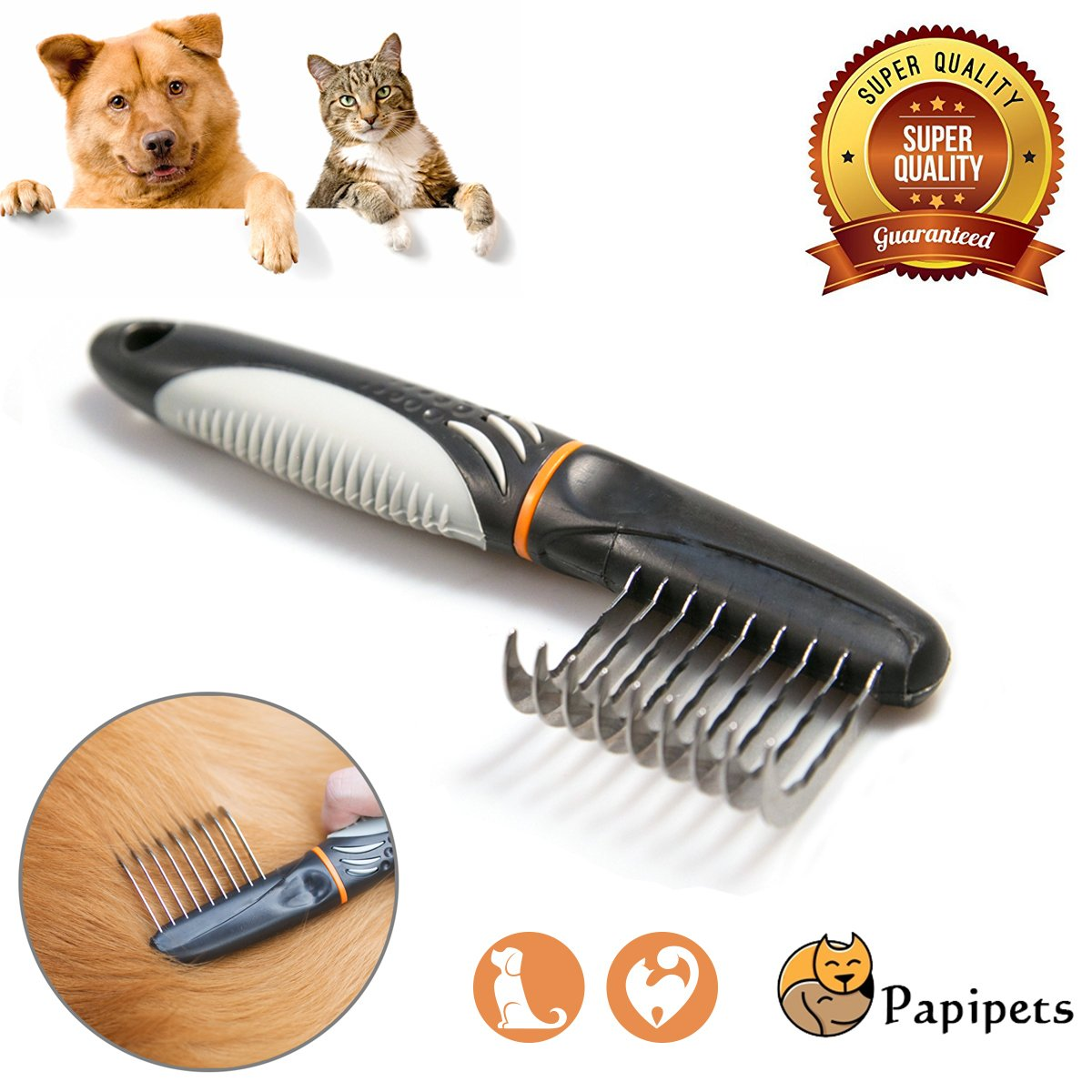 Papipets Pet Hook Dematting Comb Tool with Rounded Steel Grooming Undercoat Rake Remove Matted Hair/Knots/Tangled Fur for Small/Medium/Large Pets