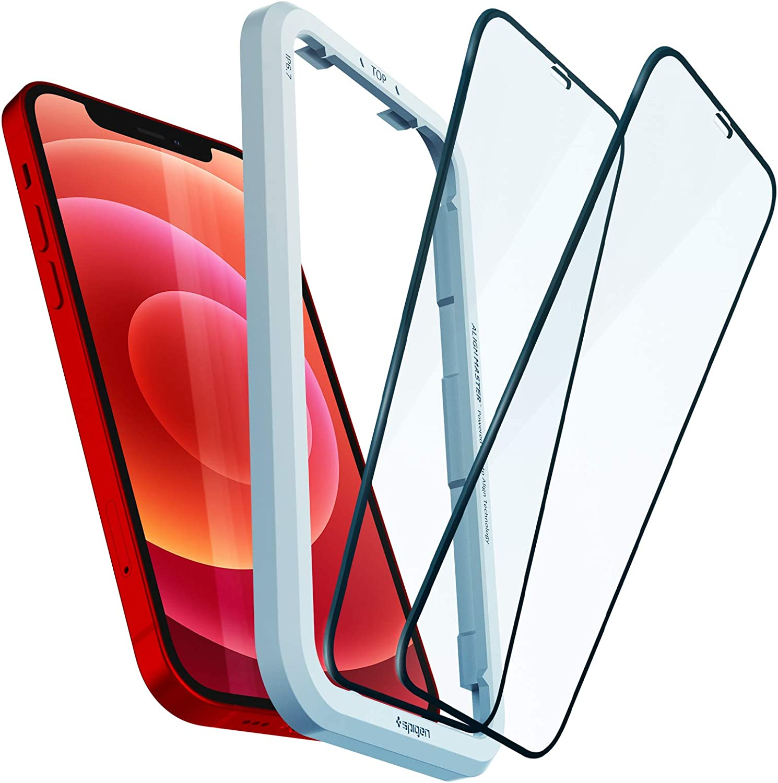 Spigen AlignMaster 全面保護 ガラスフィルム iPhone 12、iPhone 1…