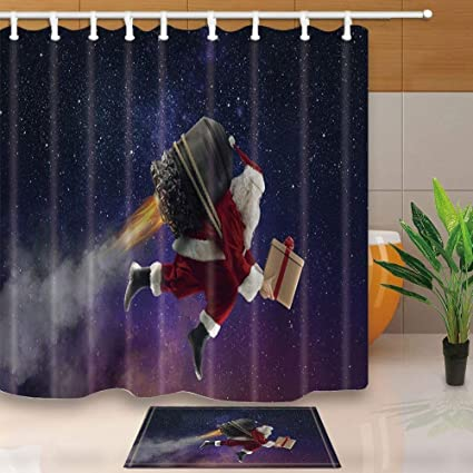 SZZWY Christmas Decor Santa Claus Flying To Send Gifts Starry Backdrop 69X70in Mildew Resistant Polyester Fabric