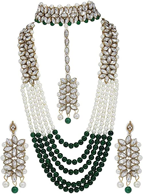 Polki Golden Necklace Pendant Earring Set Na n2121 Indian Bollywood Fashion Party wear Jewelry