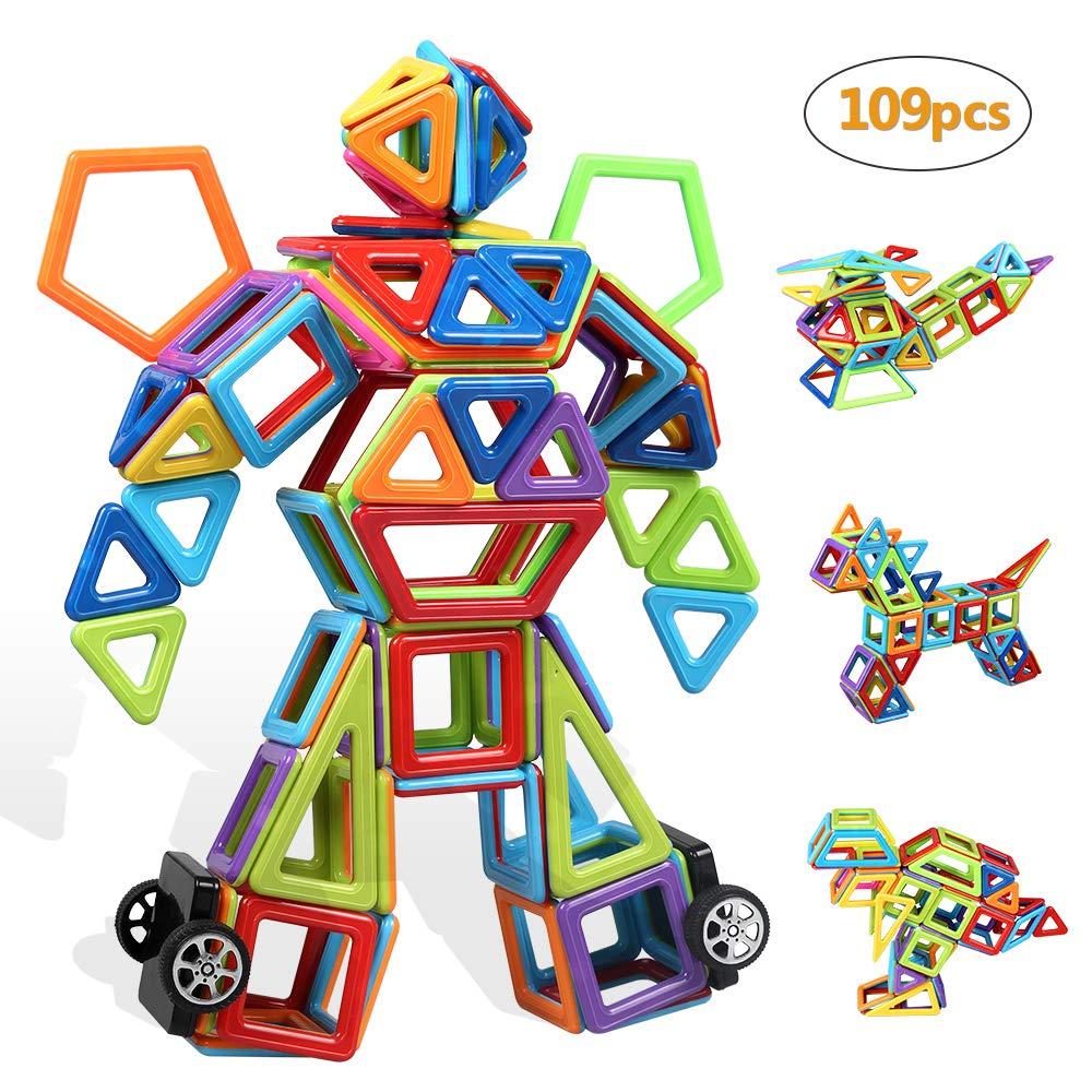 infinitoo Blocs Construction Magnétiques   109 Pièces Mini Jeux de Construction Magnetique Colorée 3ère-Version   Idéal Cadeau pour Bébé à Partir de 3 Ans product image