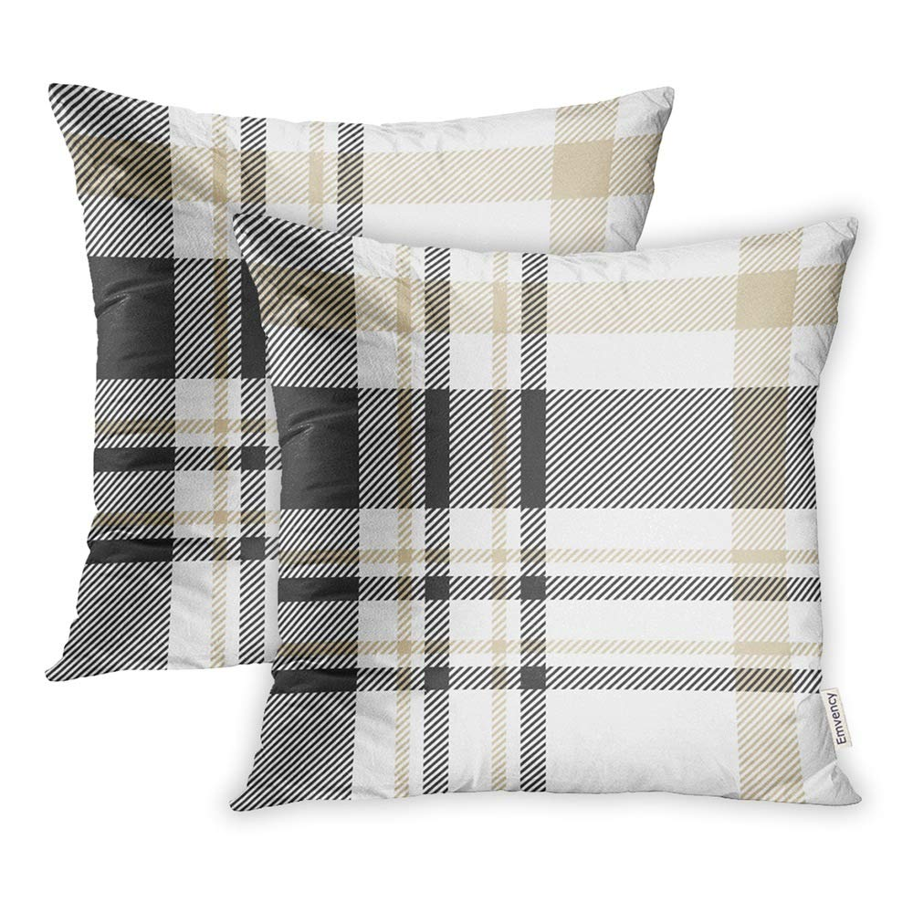 Emvency Set of 2 Throw Pillow Covers Print Polyester Zippered Plaid Check Pattern in Palette of Black Beige and White Traditional Checkered Pillowcase 18x18 Square Decor for Home Bed Couch Sofa