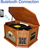 8-in-1 Boytone BT-25WB Natural Wood Classic Turntable Stereo System with Bluetooth Connection, Vinyl Record Player, AM/FM, CD, Cassette, USB, SD Slot. 2 Built-in Speakers, Remote Control, MP3 Player