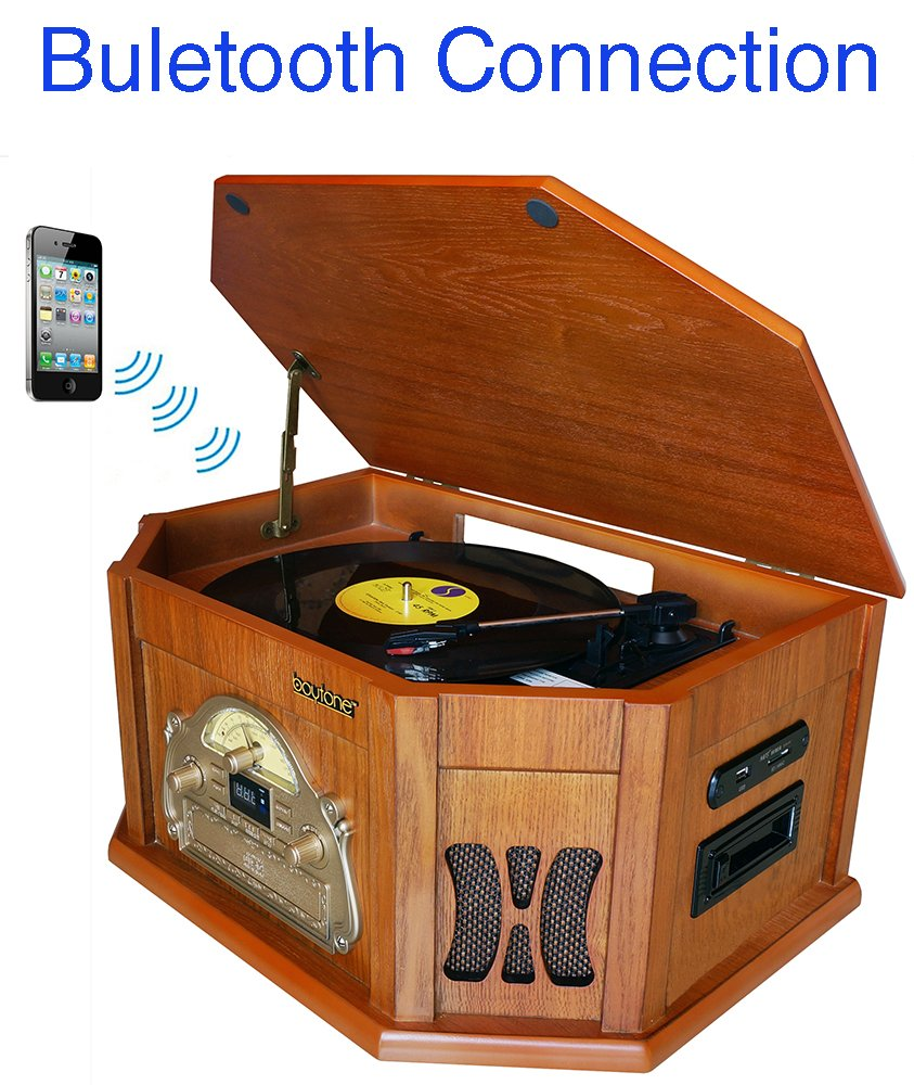 8-in-1 Boytone BT-25WB Natural Wood Classic Turntable Stereo System with Bluetooth Connection, Vinyl Record Player, AM/FM, CD, Cassette, USB, SD Slot. 2 Built-in Speakers, Remote Control, MP3 Player by Boytone