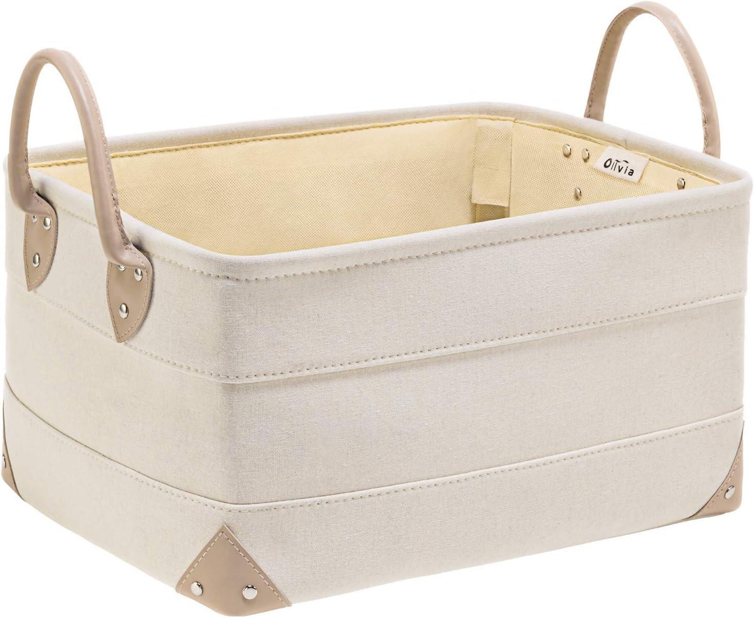 "OLLVIA Decorative Fabric Storage Bins Basket, 15.7x11.8x8.3"" Large Canvas Laundry Room Storage, Fabric Storage Baskets for Closet Shelves, Foldable Storage Bin for Organizing Shelf Nursery Office"