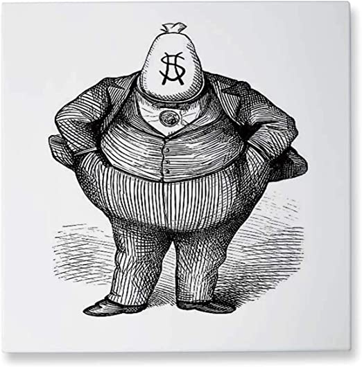 Amazon.com: Hitecera Antique Caricature of 'Fat Cat' Politician ...