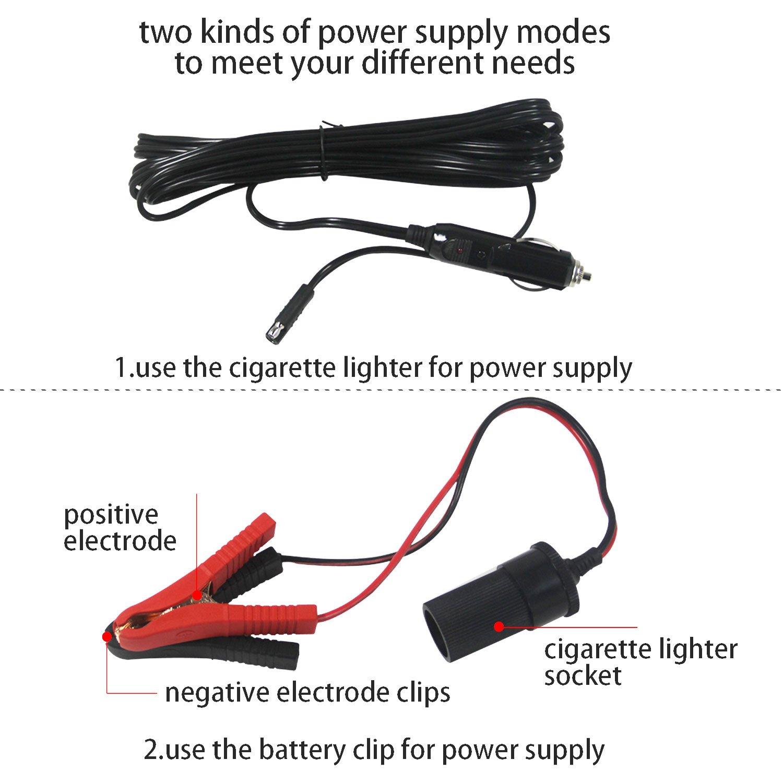 /électrique Cric hydraulique avec pompe de gonflage cl/é et lampe de poche portable de voiture Outil de r/éparation kit Id/éal pour v/éhicule Pneu d 4/999,9/kilogram compact Mplus 4/en 1/12/V DC 5T