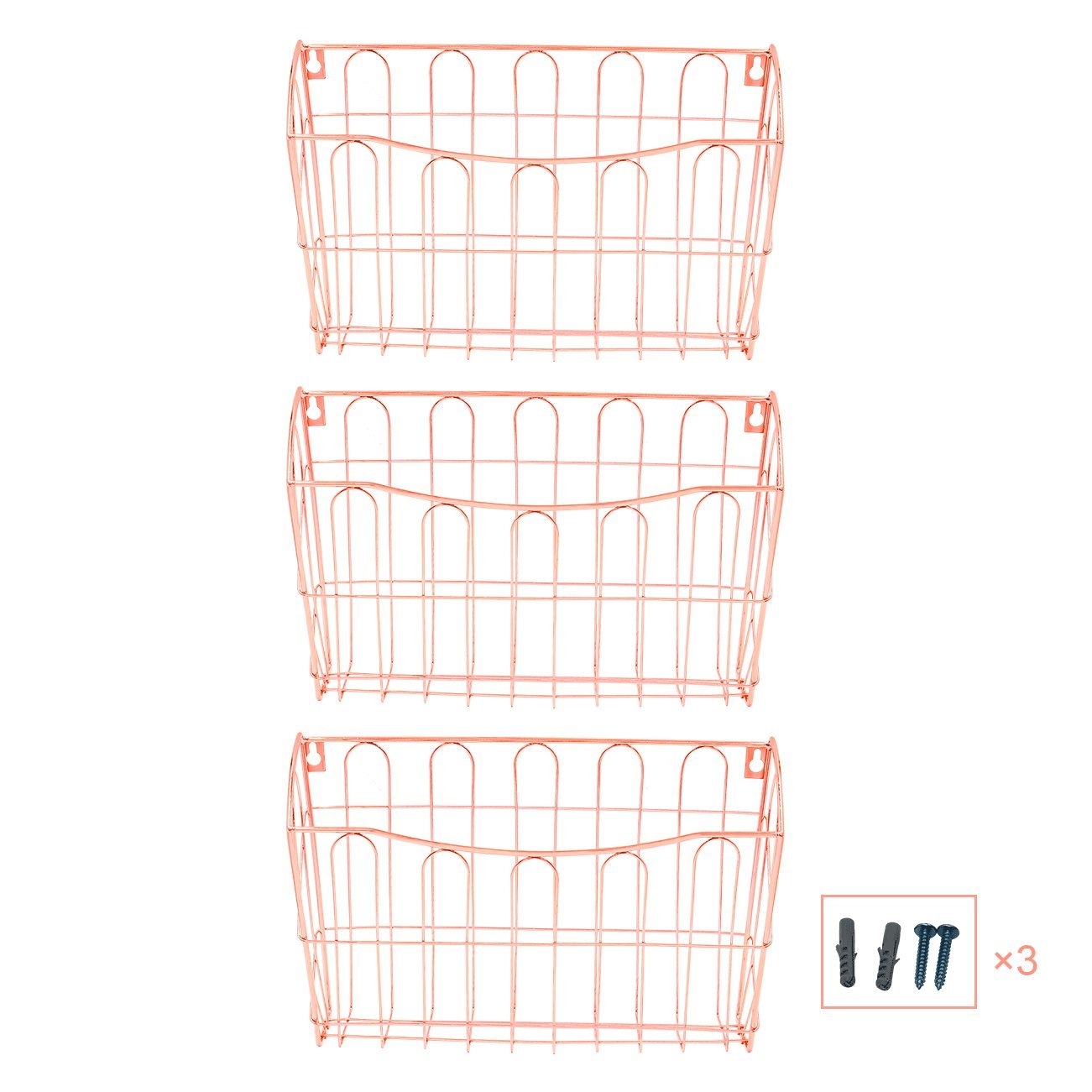 Superbpag Hanging File Organizer, 3 Pocket Wall Mount Document Letter Tray File Organizer, Rose Gold