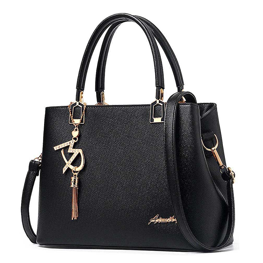 Womens Purses and Handbags Shoulder Bags Ladies Designer Top Handle Satchel Tote Bag (Black)