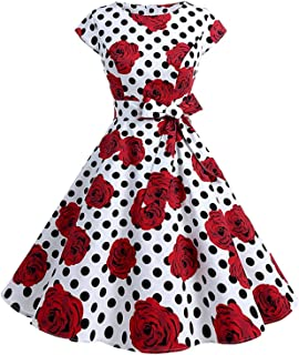 TINTAO Womens 50s Style Polka Dot Cocktail Party Rockabilly Vintage Dress with Cap Sleeve D107