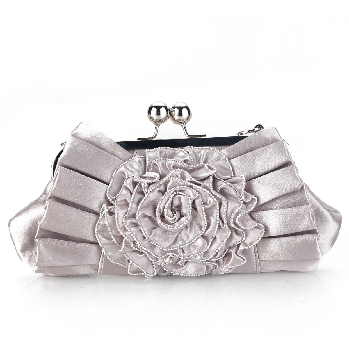 Evening Wedding Clutch Purses And Handbags for Women Satin Crossbody Bag Shoulder Bags in Baby Pink