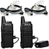 Retevis RT22 Walkie Talkie Long Range Rechargeable 16 Channel FRS Mini Hands-free Two Way Radio with Headsets(1 Pair)