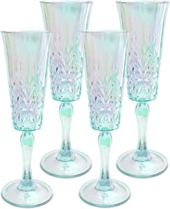 Myrtle Beach Champagne Flute Shatterproof Tritan Drinking Glasses, 6oz, Set of 4 - Unique Unbreakable Glassware for Indoor and Outdoor Use - Reusable Drinkware.