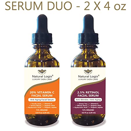2 Bottle Serum Set Natural Logix Anti-Aging Serum Duo – 20 VITAMIN C 4oz 2.5 RETINOL 4oz , Penetrates to Reduce Wrinkles, Fade Dark Spots, Evens Skin Tone, 2 X 4 oz