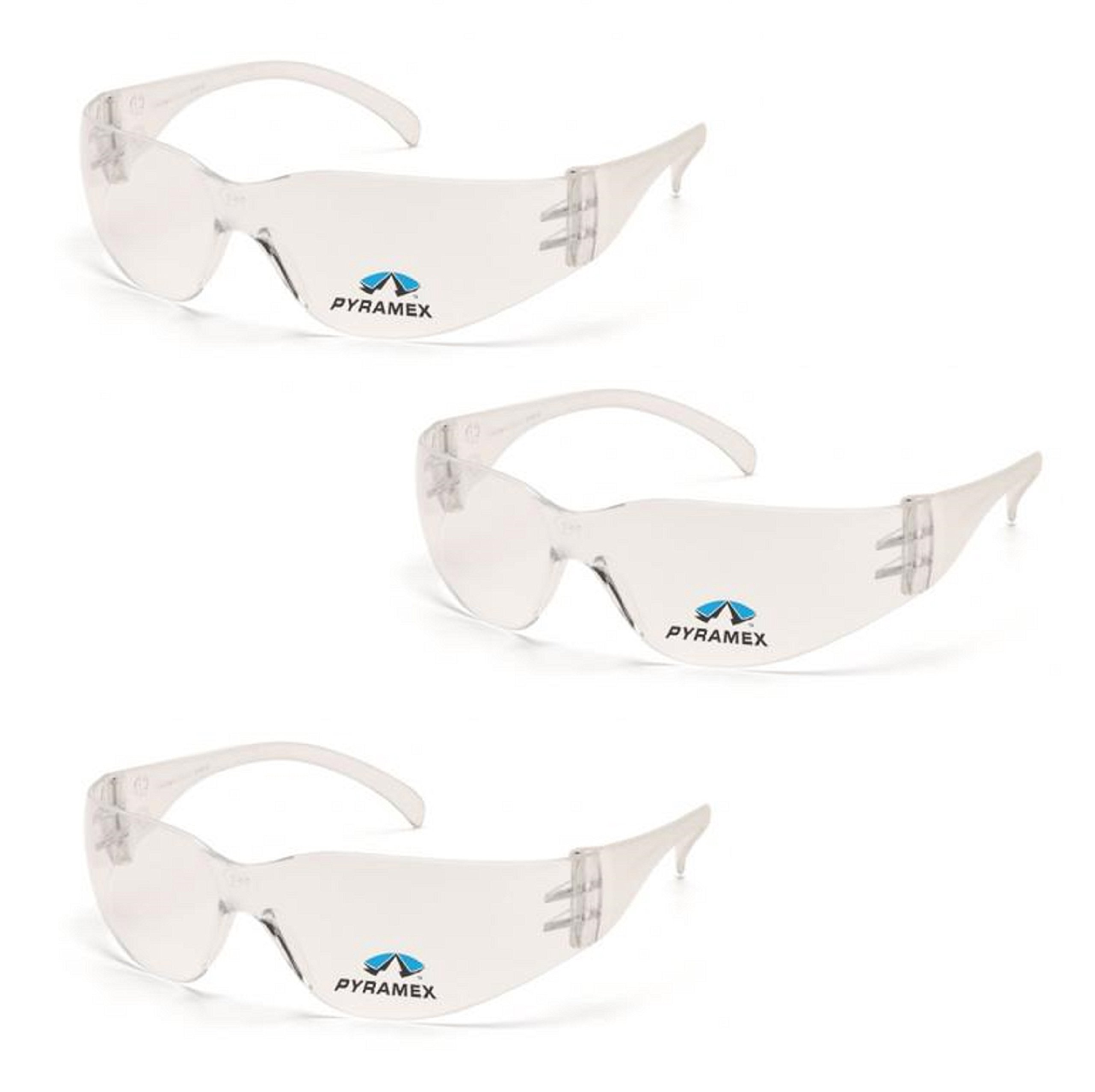 Pyramex Safety Intruder Reader Bifocals Clear Frame with Clear Lens (3 Pair) (Clear + 1.5 Lens)