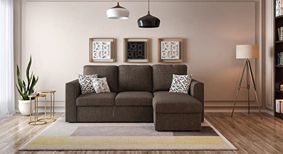 Urban Ladder Kowloon Sectional Sofa Cum Bed with Storage  Colour : Sand Brown  Sofas   Couches