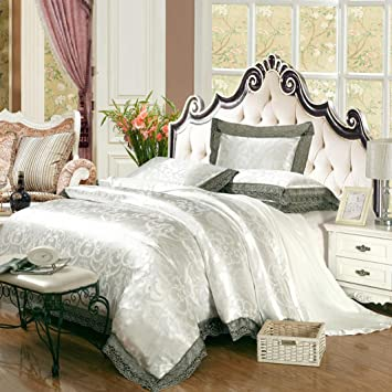 Nice Modern Fashion Bedding Set Cotton European Style Tribute Satin Jacquard  Quilt Lace Bed Sheets Four Sets