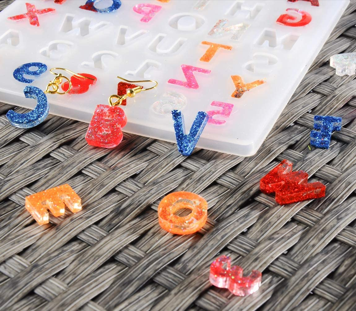 Earrings Alphabet Resin Molds Reversed 255 PCS Letter Number Silicone Resin Molds with Hand Drill Epoxy Resin Casting Molds for Charms Keychain Necklace