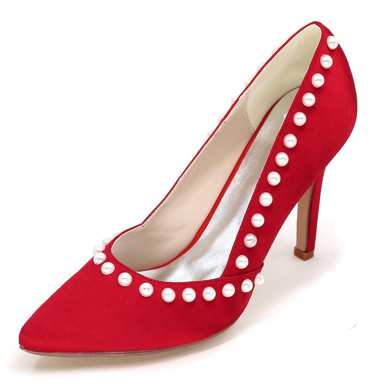 Elobaby Frauen Frauen Frauen Hochzeitsschuhe Spitz Stiletto High Heels Court Schuhe Perle Prom Party   9.5cm Ferse  51bb22