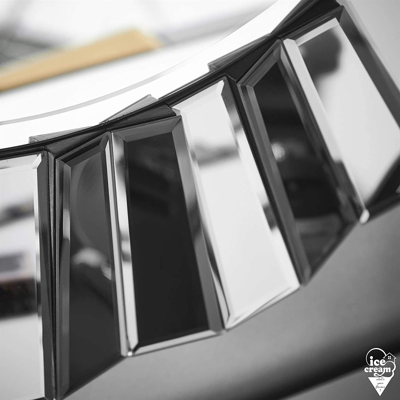 Knightsbridge Specchio Rotondo Parete 3D Effetto Vetro con Design a Specchio per Soggiorno Salone Camera da Letto Grigio Argento ice cream whats your flavour