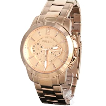 Fossil Mens FS4635 Stainless Steel Analog Pink Dial Watch
