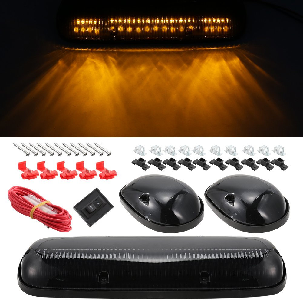 SaiDeng 3Pcs Cab Roof Top Marker Lights Smoke Cover 30LED Running Marker Light for2002-2007 Chevrolet Silverado Series/2002-2007 GMC Sierra Truck - Amber
