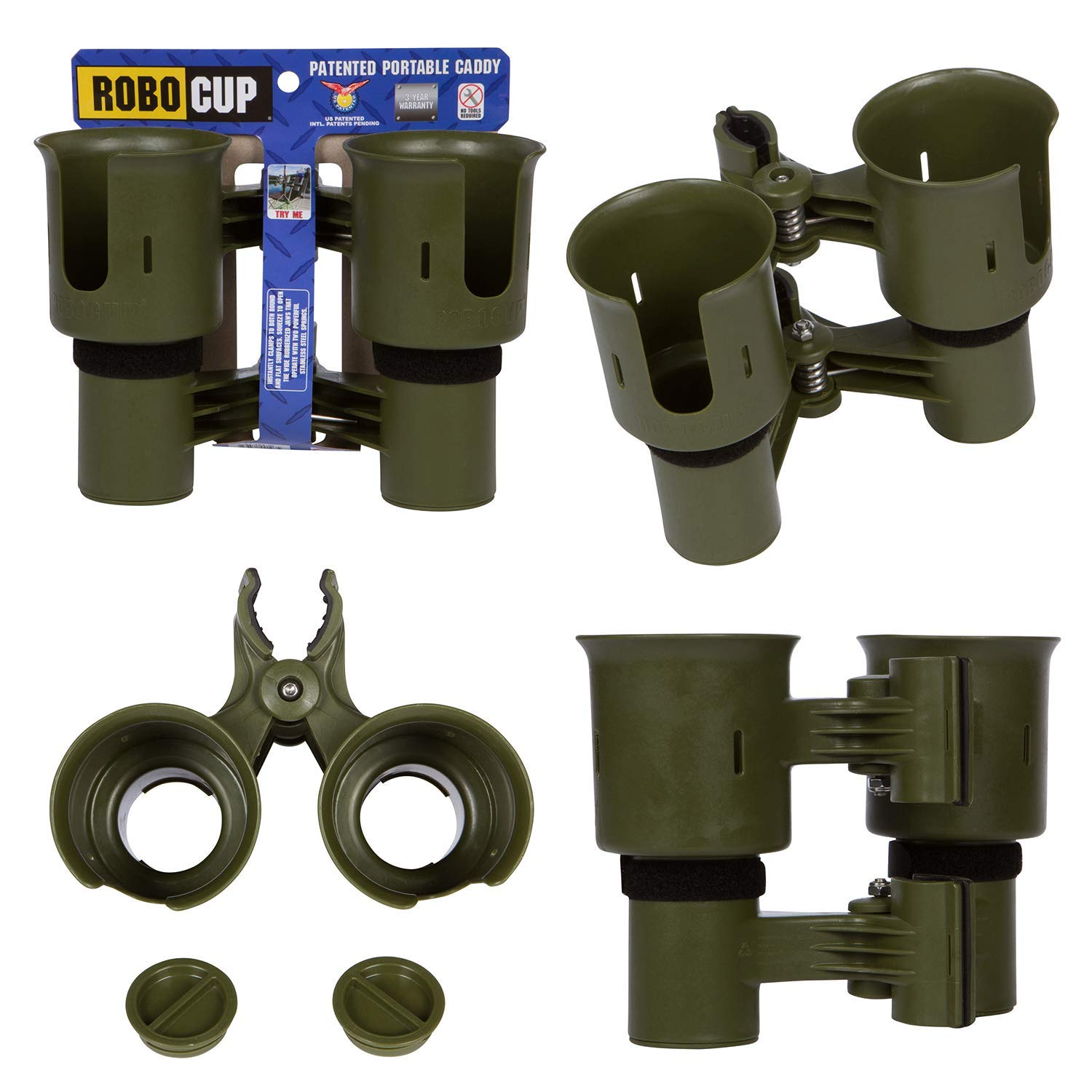ROBOCUP, Olive, Updated Version, Best Cup Holder for Drinks, Fishing Rod/Pole, Boat, Beach Chair/Golf Cart/Wheelchair/Walker/Drum Sticks by ROBOCUP