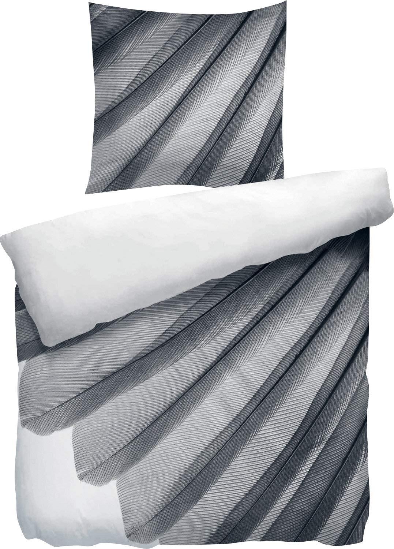 Heckett & Lane Wendebettwäsche Satin grau-schwarz-weiß grau-schwarz-weiß grau-schwarz-weiß Größe 155x220 cm (80x80 cm) 277496