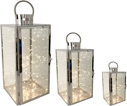 Mojawo Juego Completo de 3 faroles de jardín XXL, Juego de 3 farolillos de Acero Inoxidable, Farol de Cristal de 30/40/53 cm Plata + 3 guirnaldas de Luces LED: Amazon.es: Juguetes y juegos