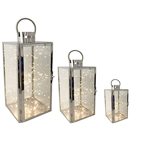 3tlg Luxus Edelstahl Gartenlaternen Windlicht LED Lichterkette LED Kerzen