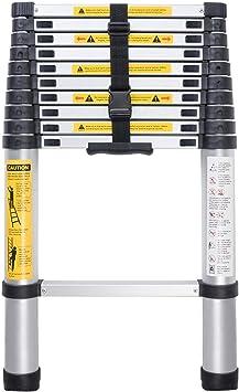 Escalerilla, Escalera telescópica de aluminio portátil con espaciadores de protección de dedos for la oficina de loft en el hogar, capacidad de 330 lb (Size : 2.6m): Amazon.es: Bricolaje y herramientas